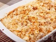 Рецепта Домашна сладка печена юфка на фурна с мялко, масло, яйца и захар за закуска или десерт